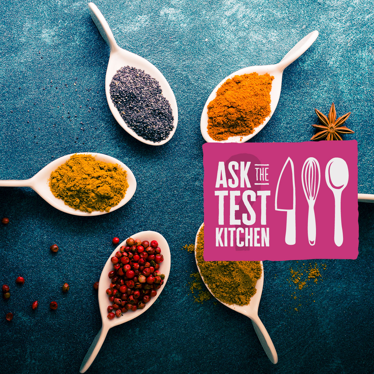 white spoons with spices and an Ask the Text Kitchen logo