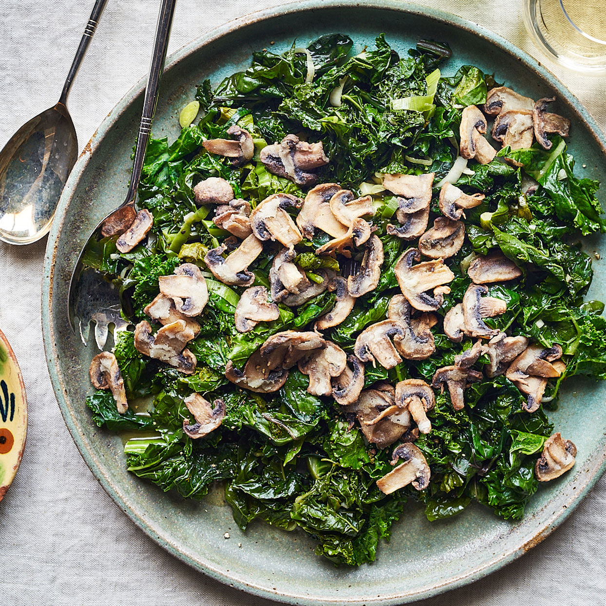 Braised Winter Greens with Crispy Mushrooms