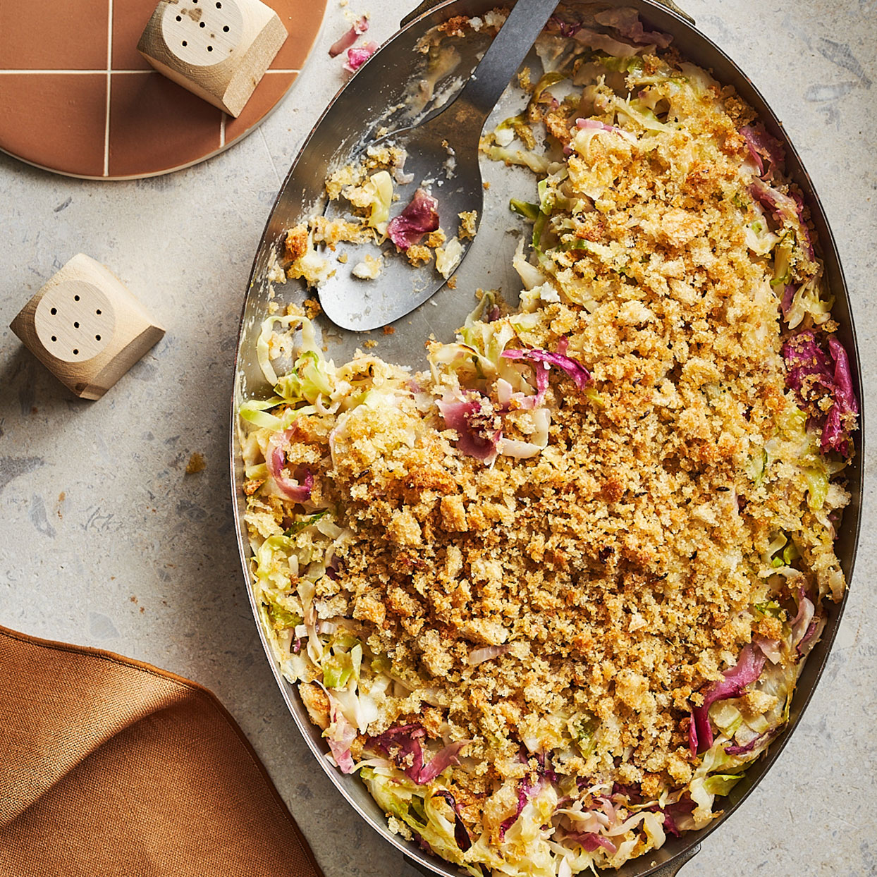 Creamed Cabbage & Sauerkraut with Rye Breadcrumbs