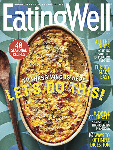 image of the November 2020 cover of EatingWell magazine that shows an overhead shot of a corn casserole on a blue tiled surface