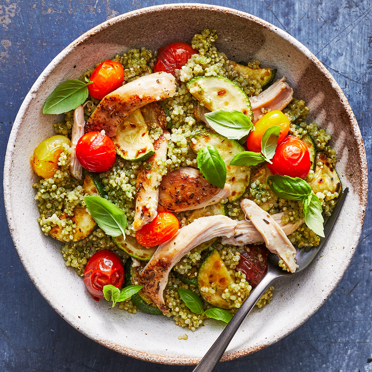 Pesto Chicken Quinoa Bowls