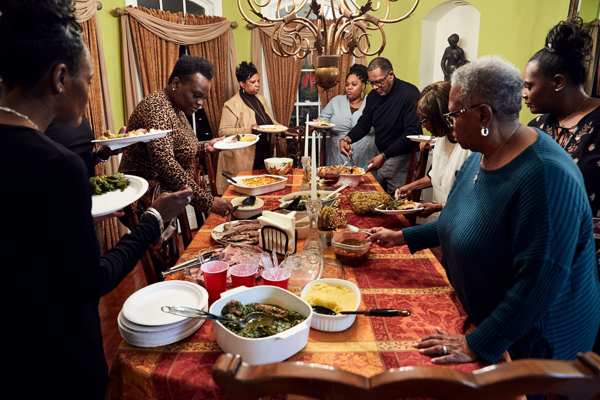 family gathered for Thanksgiving