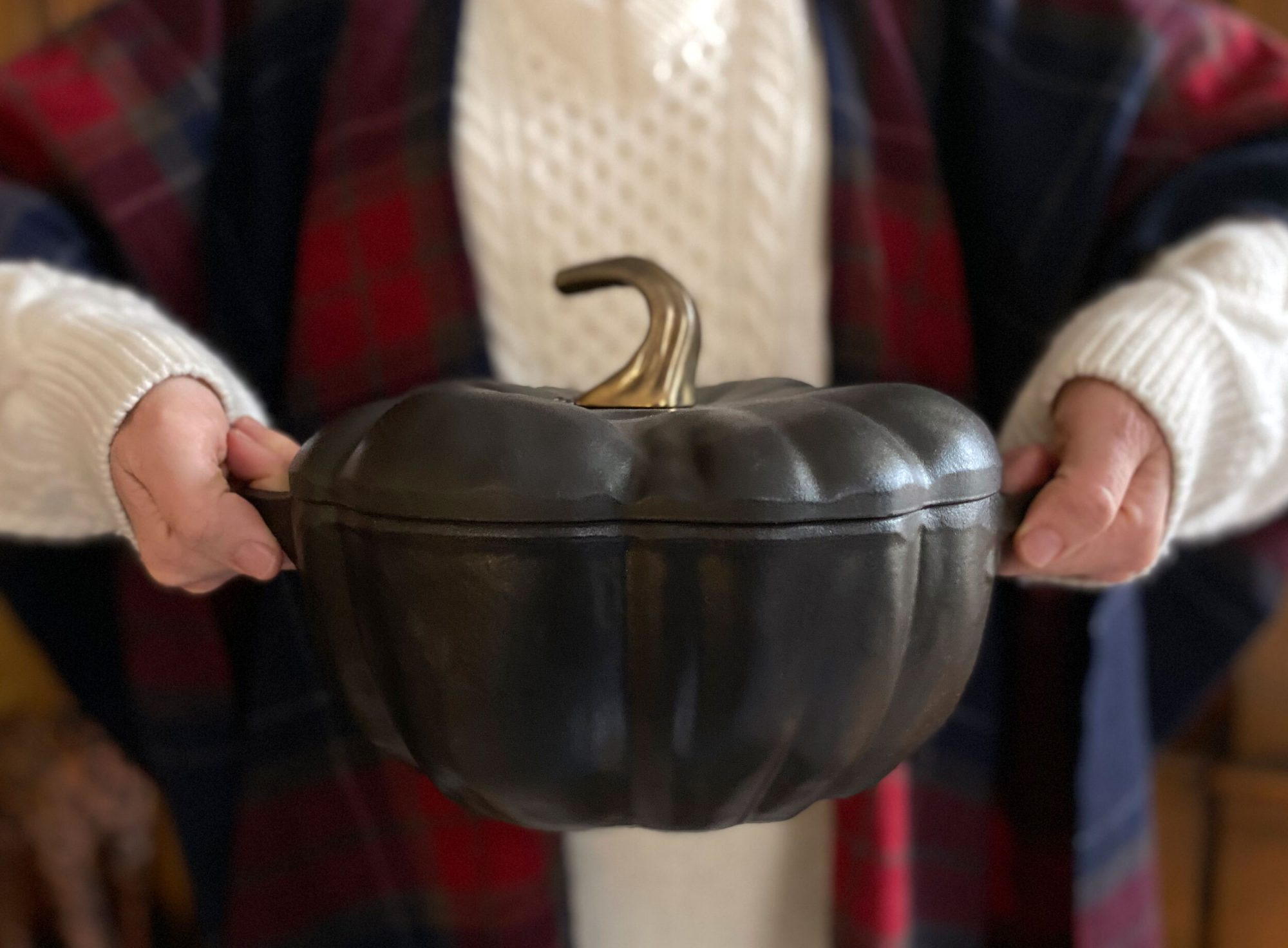 two hands holding a pumpkin shaped dutch oven