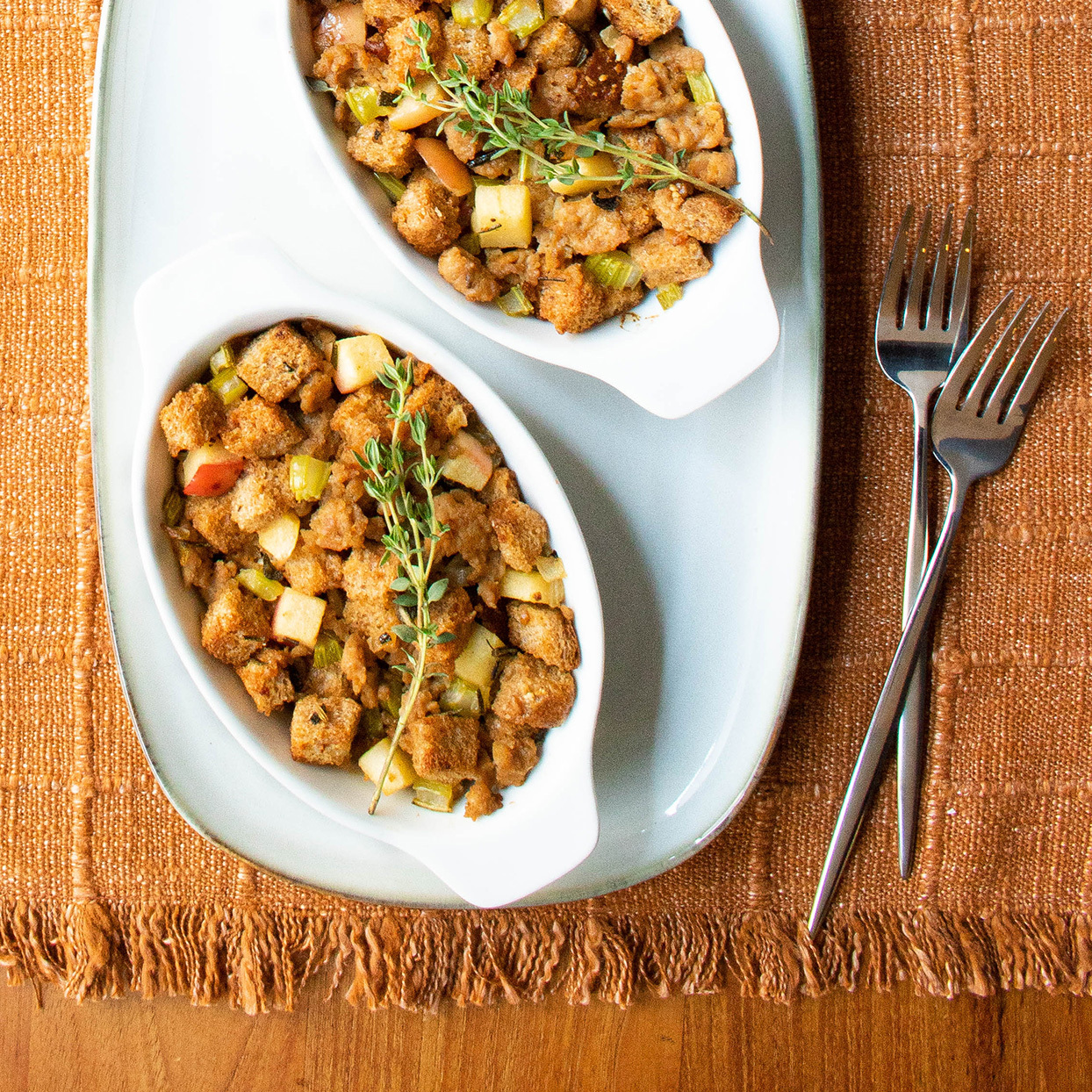 Sausage, Apple & Herb Stuffing for Two