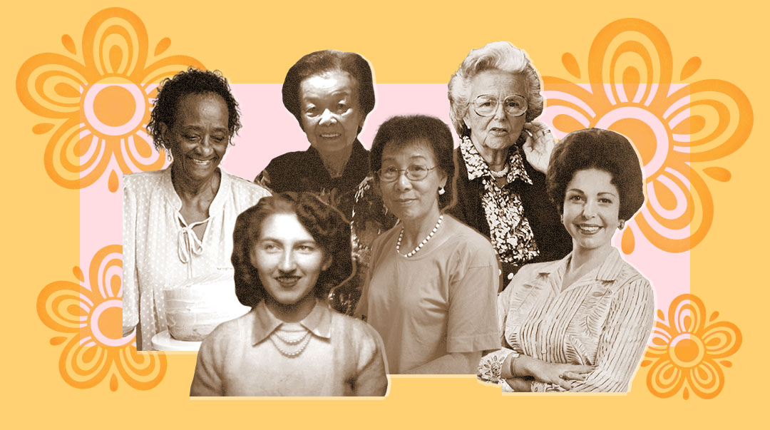 six grandmothers on a designed background