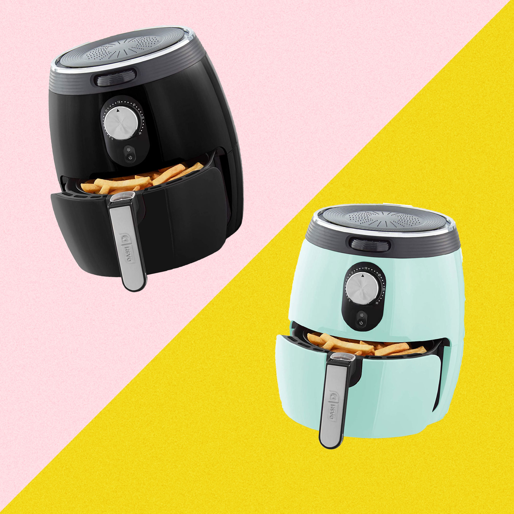 Dash air fryer in aqua and black