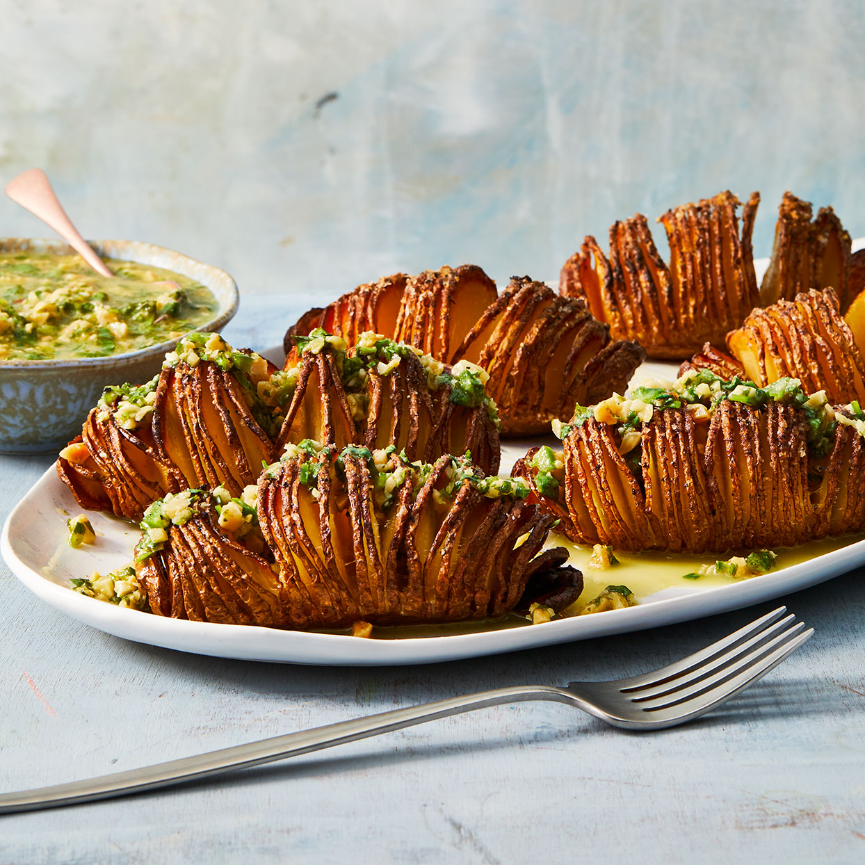 Hasselback Potatoes with Cilantro-Peanut Dressing