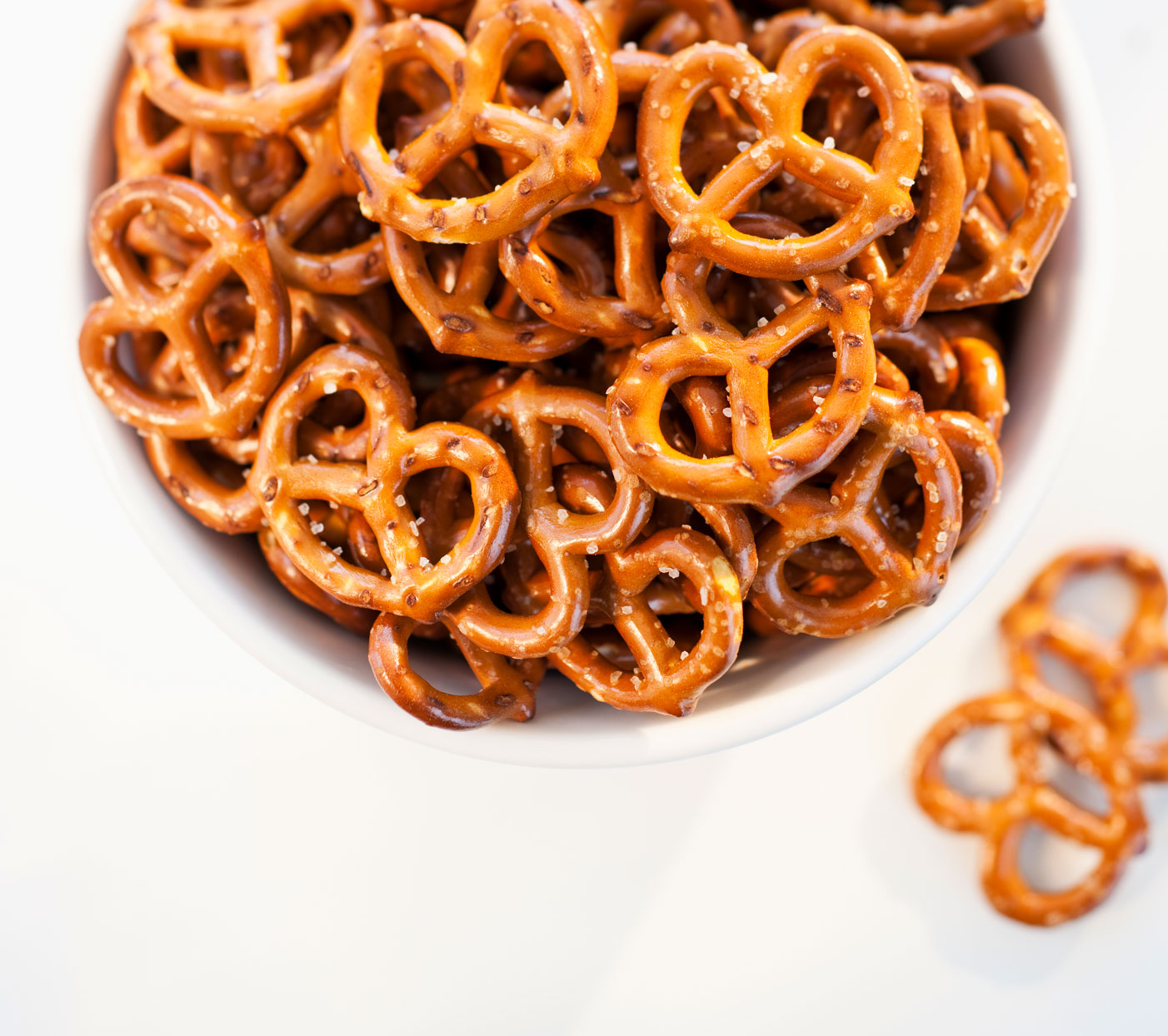 pretzels in white bowl shot overhead