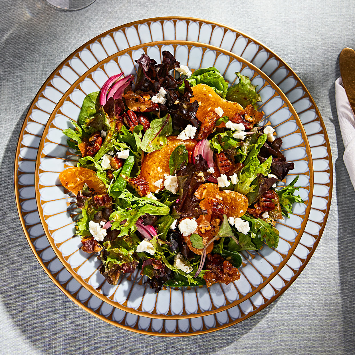 Satsuma Mandarin Salad with Spiced Pecans, Pickled Red Onion & Cane Vinaigrette
