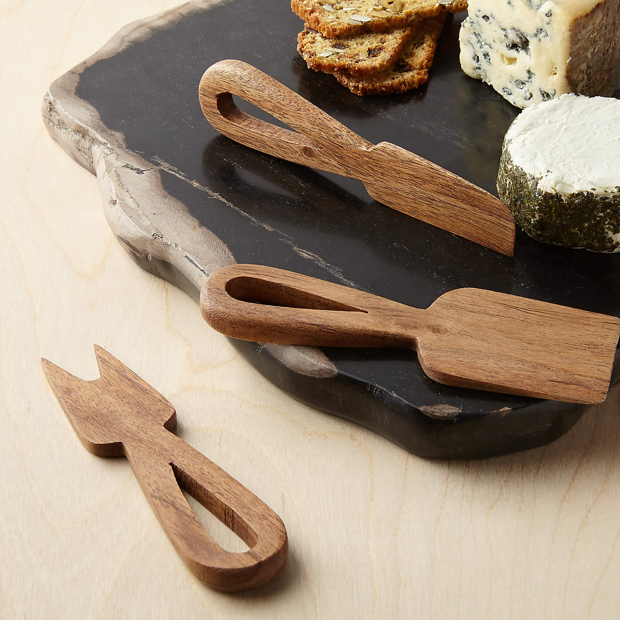 wood cheese knives