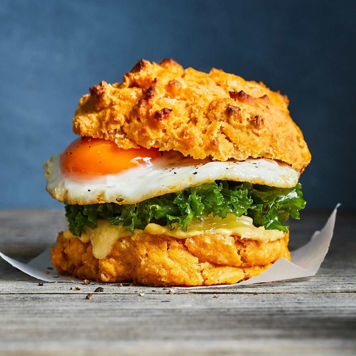 Sweet Potato Biscuit Sandwiches with Egg, Kale & Cheddar