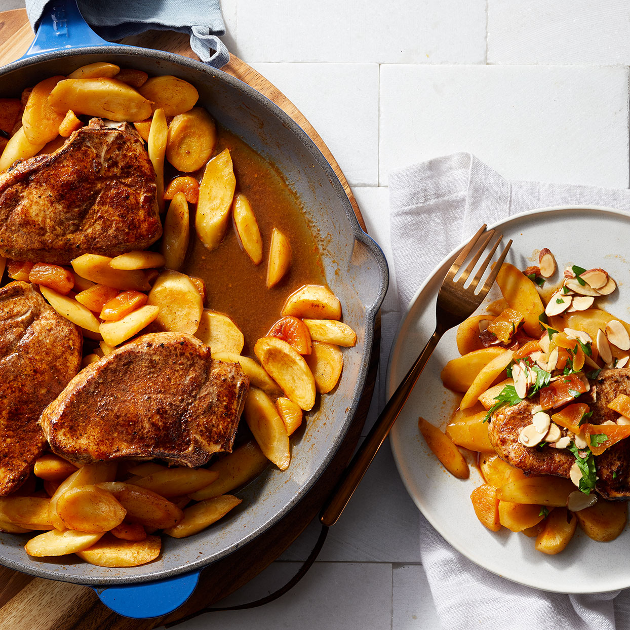 Pork Chops & Parsnips with Apricot Agrodolce