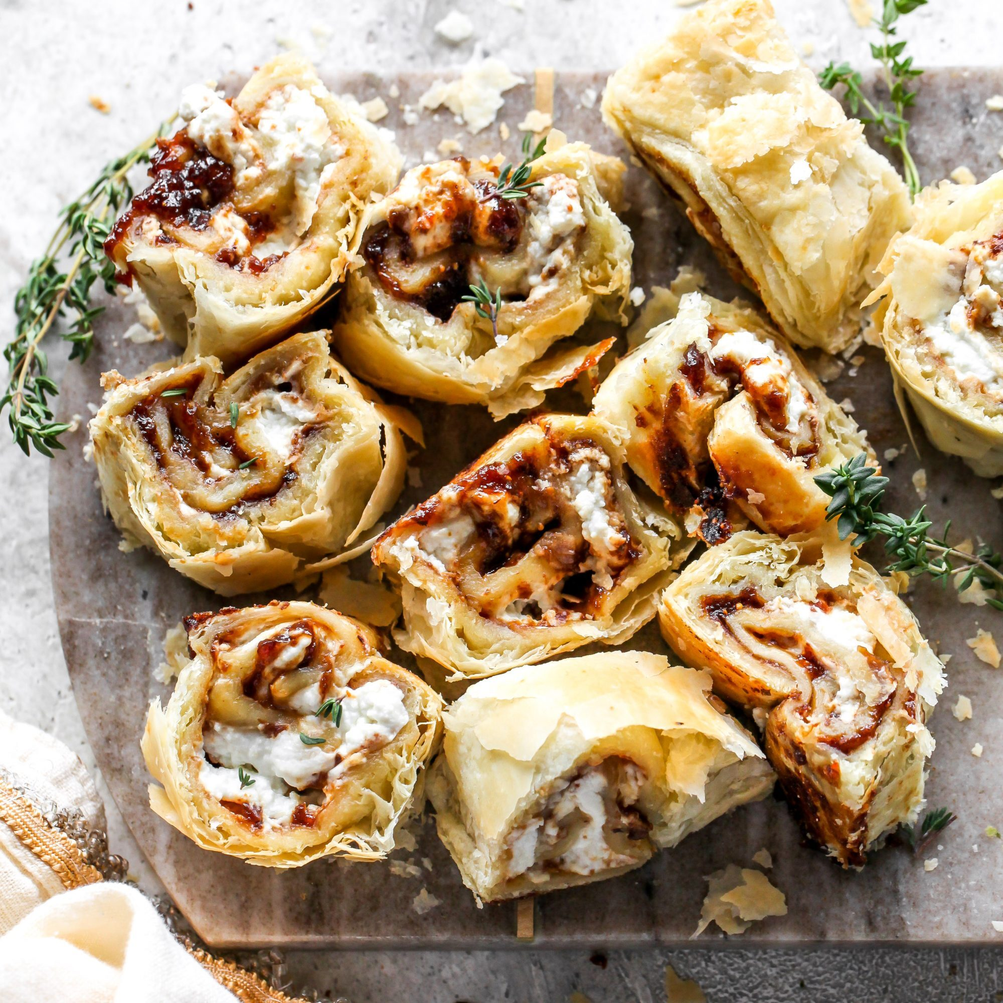 Fig & Goat Cheese Puff Pastry Roll