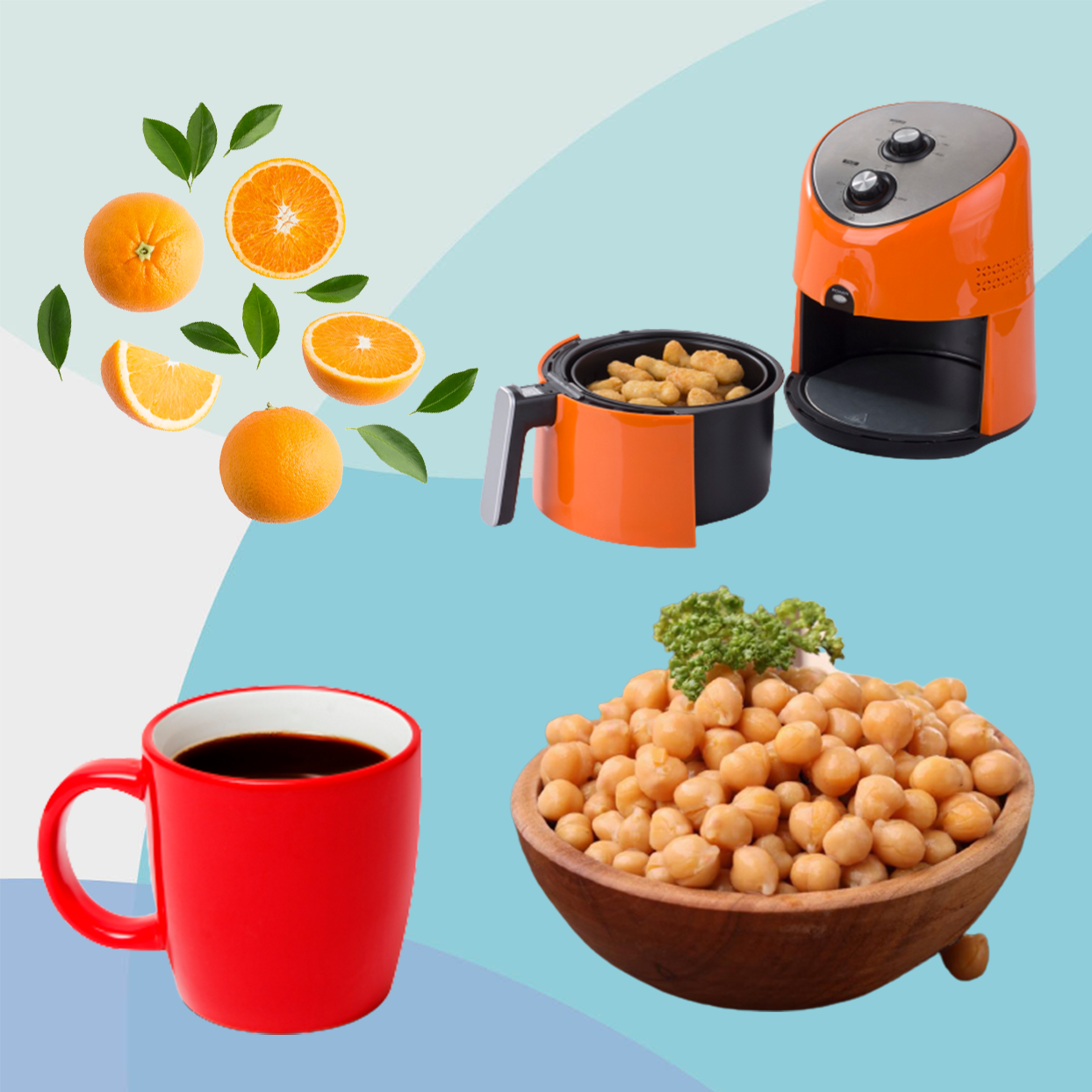 orange slices, air fryer, chickpeas and cup of chicory coffee on blue background