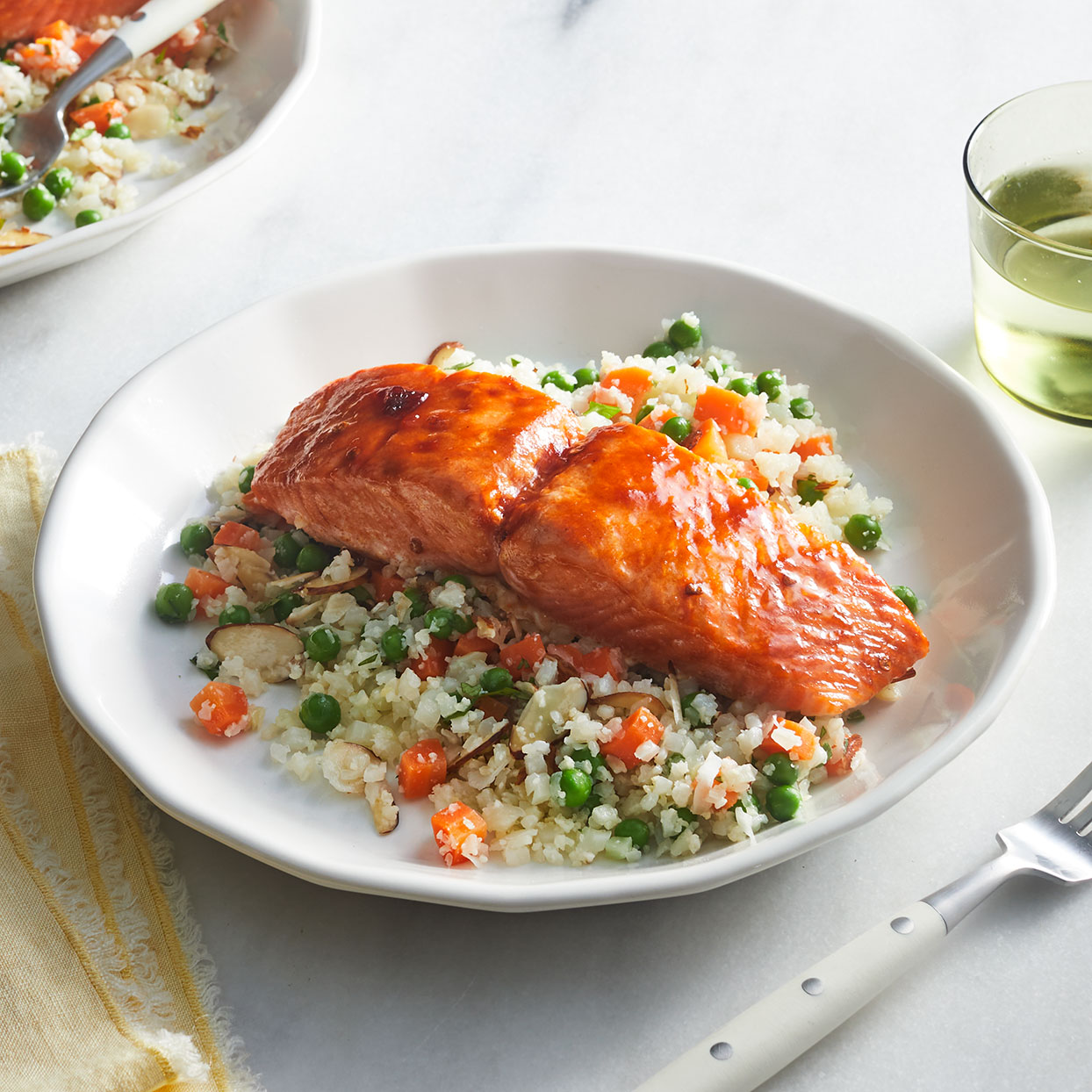 Honey-Chipotle Salmon with Cauliflower Rice Pilaf