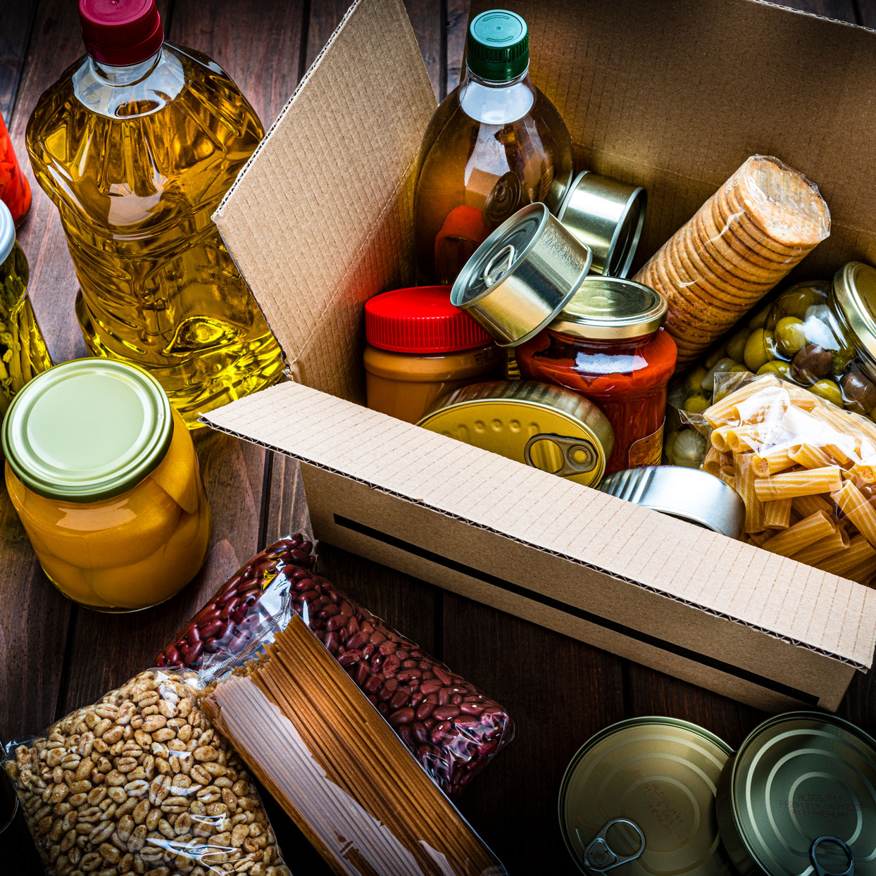pantry ingredients in a box