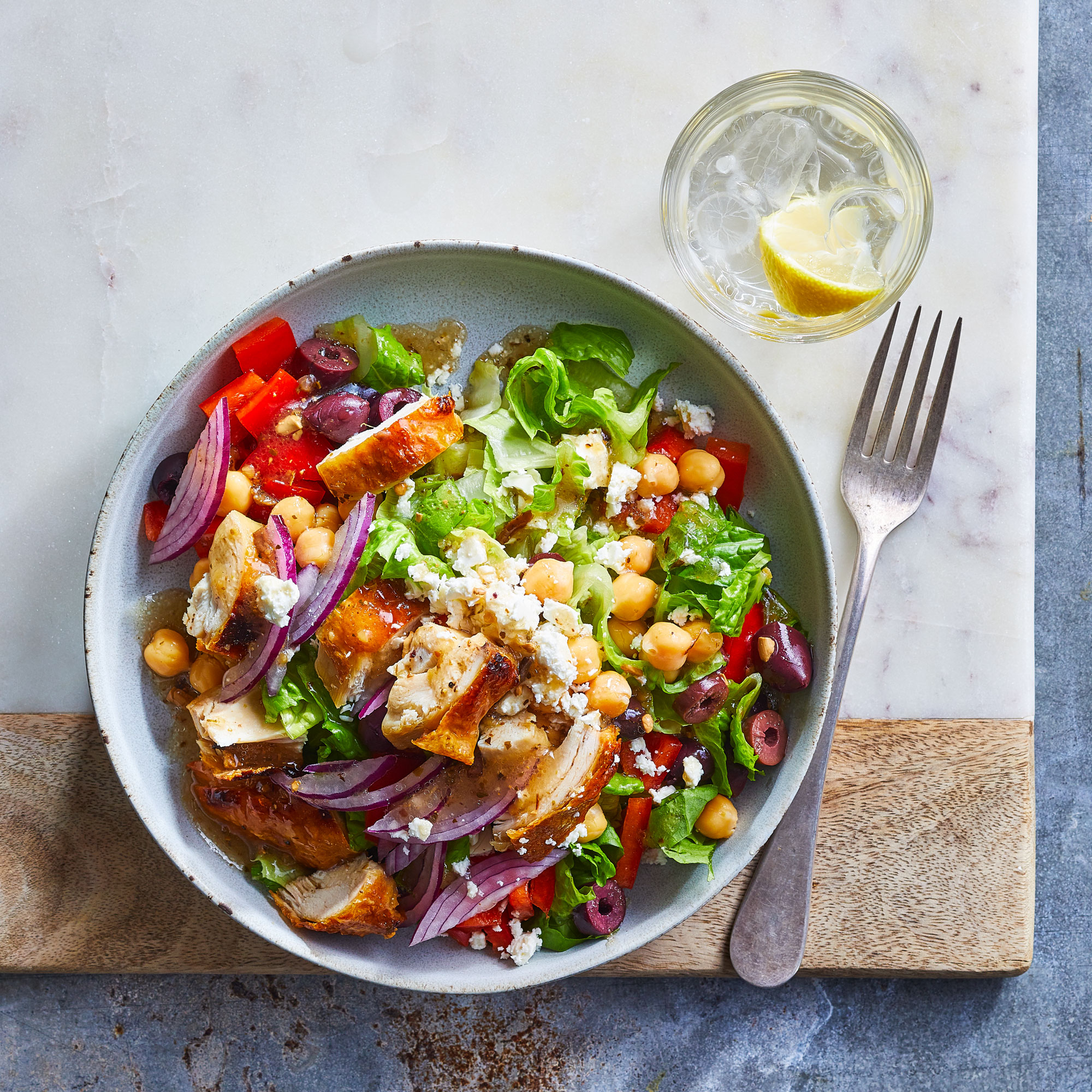 Quick Greek Salad with Chicken