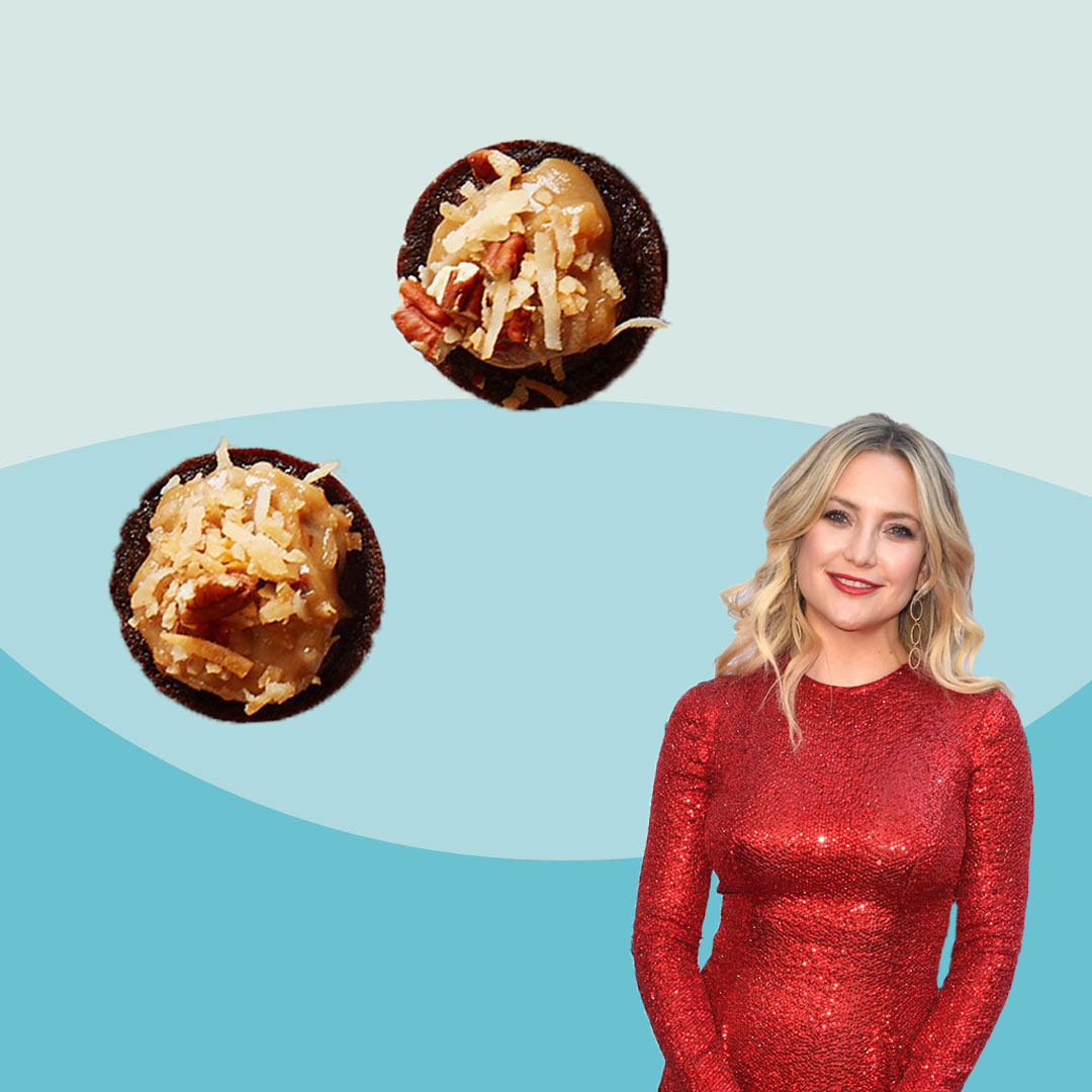 Kate Hudson and cupcakes on a blue background