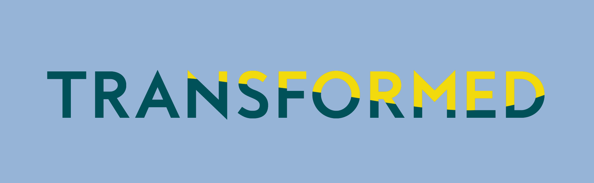 Transformed logo in blue and yellow on blue background