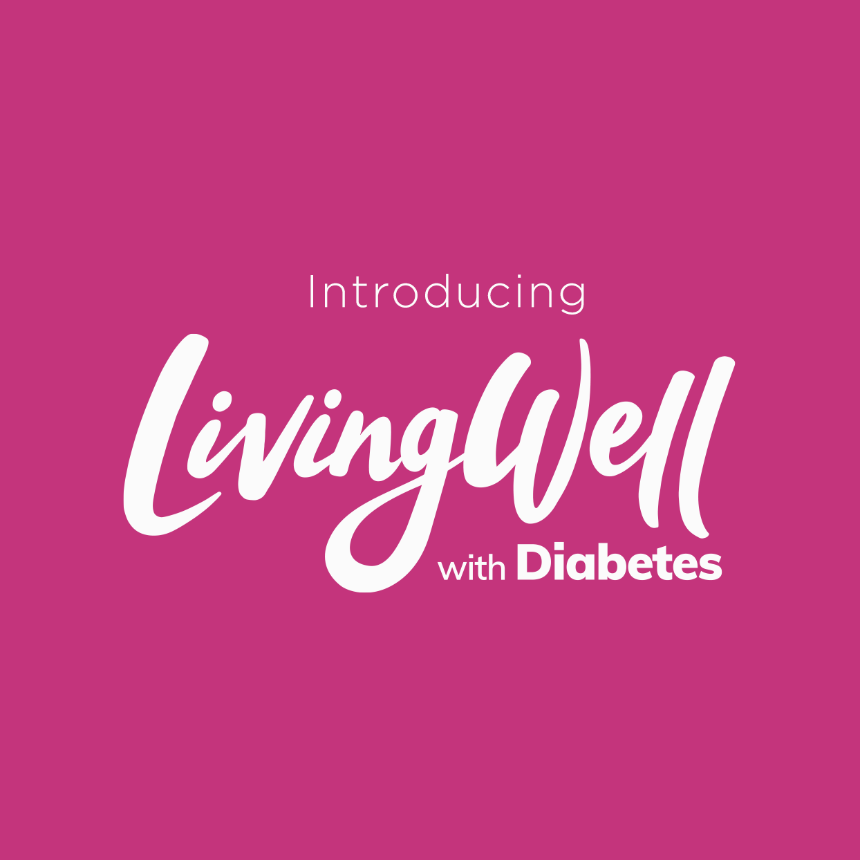 white logo for LivingWell with Diabetes on pink background