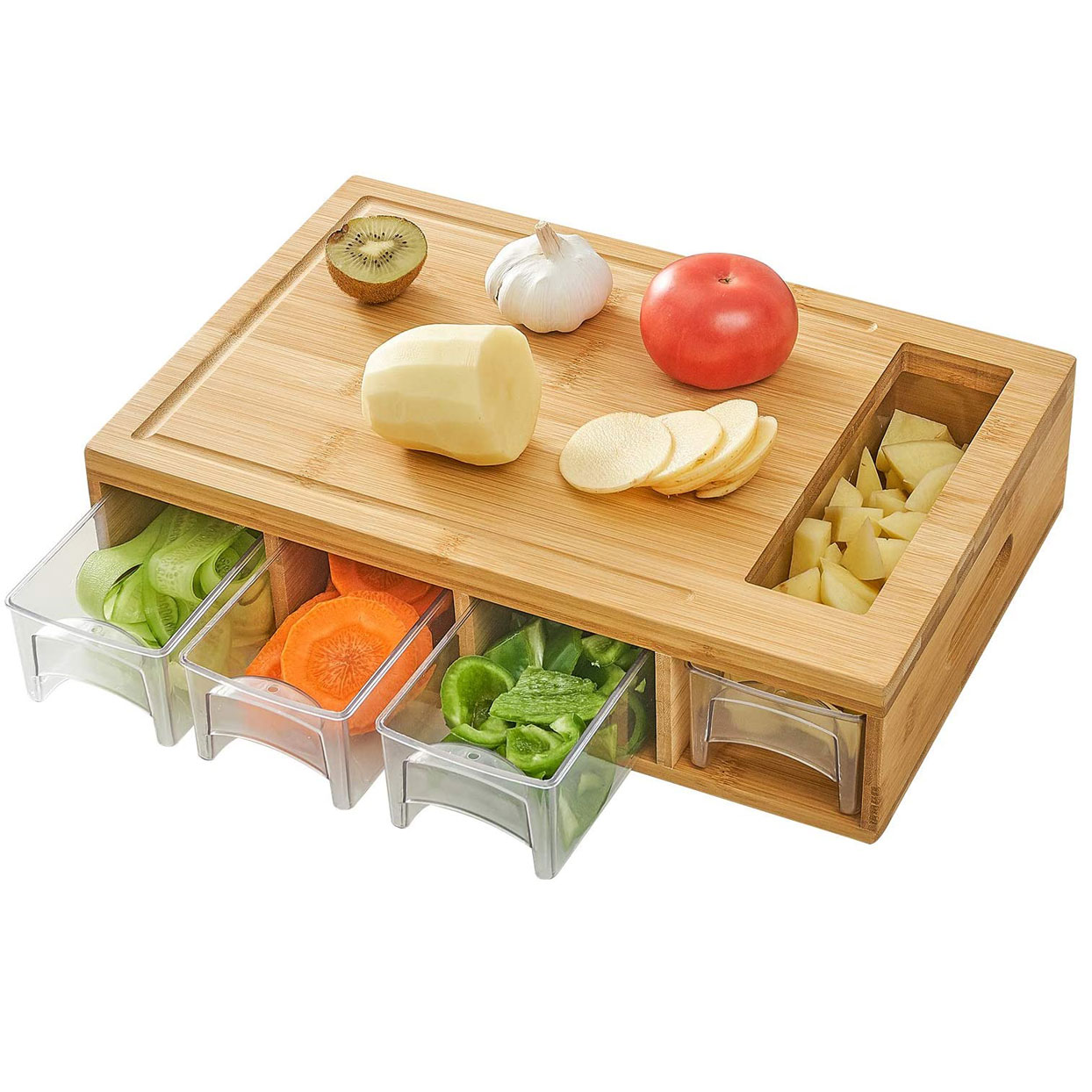 cutting board with containers