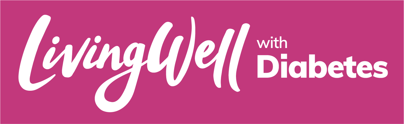 white livingwell with diabetes logo on pink background