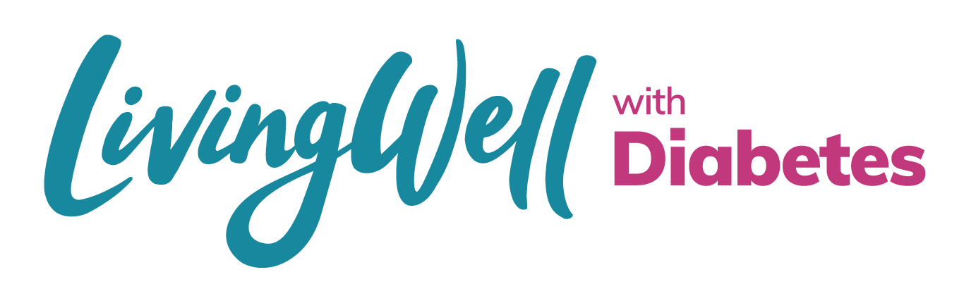 teal and pink LivingWell with Diabetes logo on white background