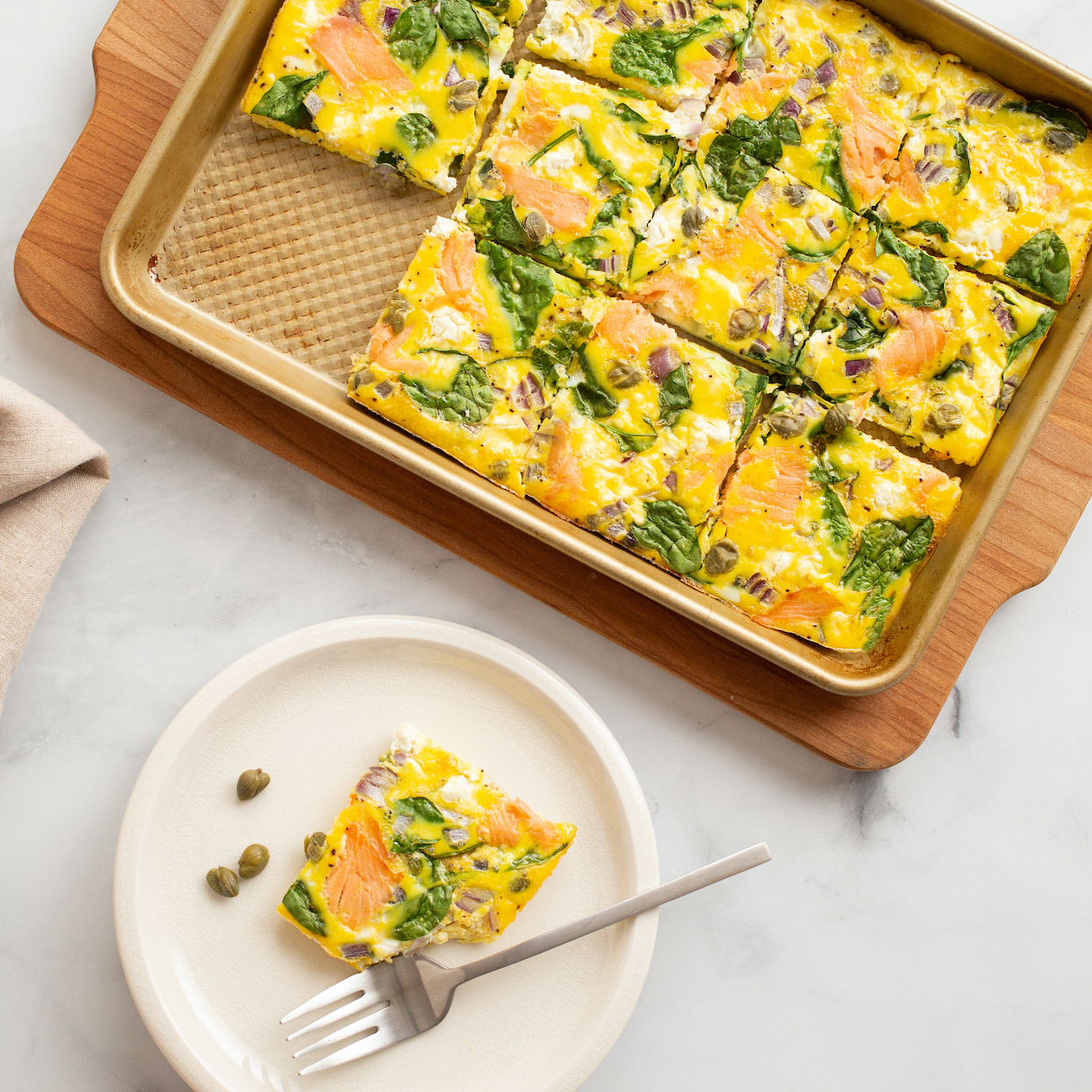 Smoked Salmon & Goat Cheese Sheet-Pan Eggs