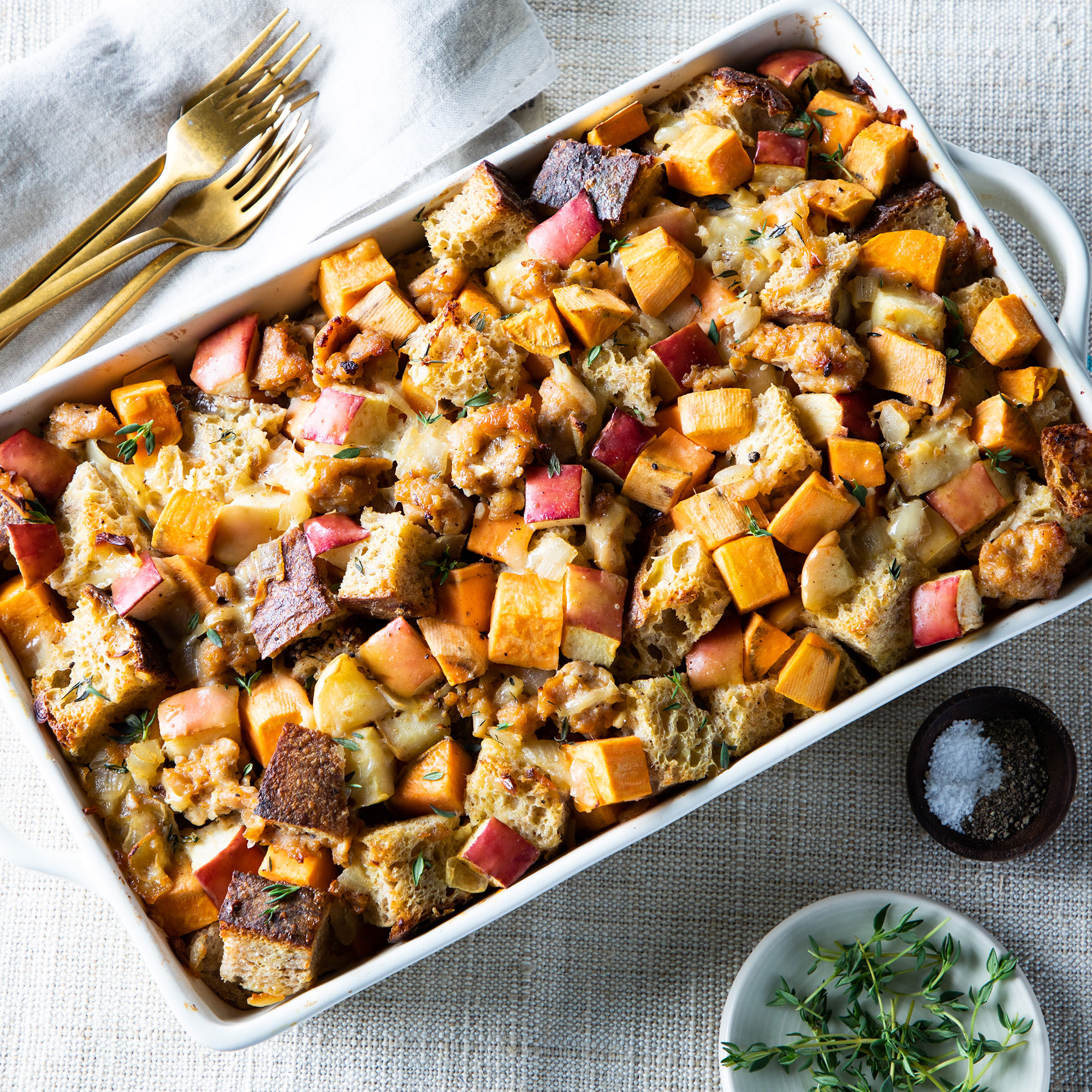 Sweet Potato, Sausage & Apple Casserole