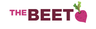 the beet logo with illustration of a beet on white background