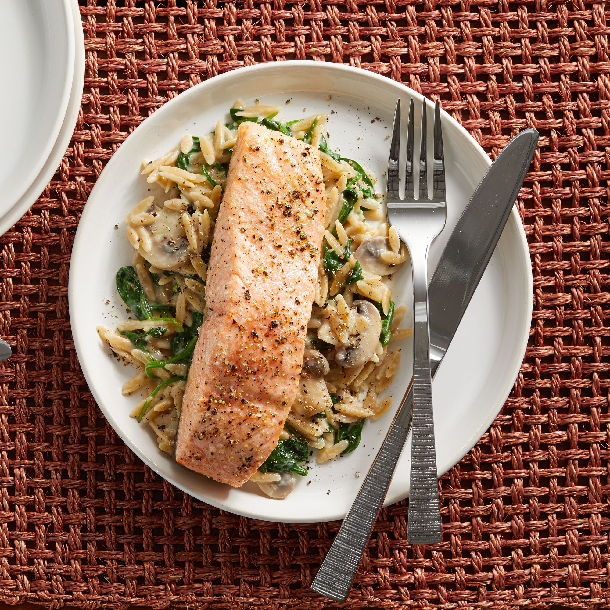 15-Minute Salmon & Creamy Orzo with Spinach & Mushrooms