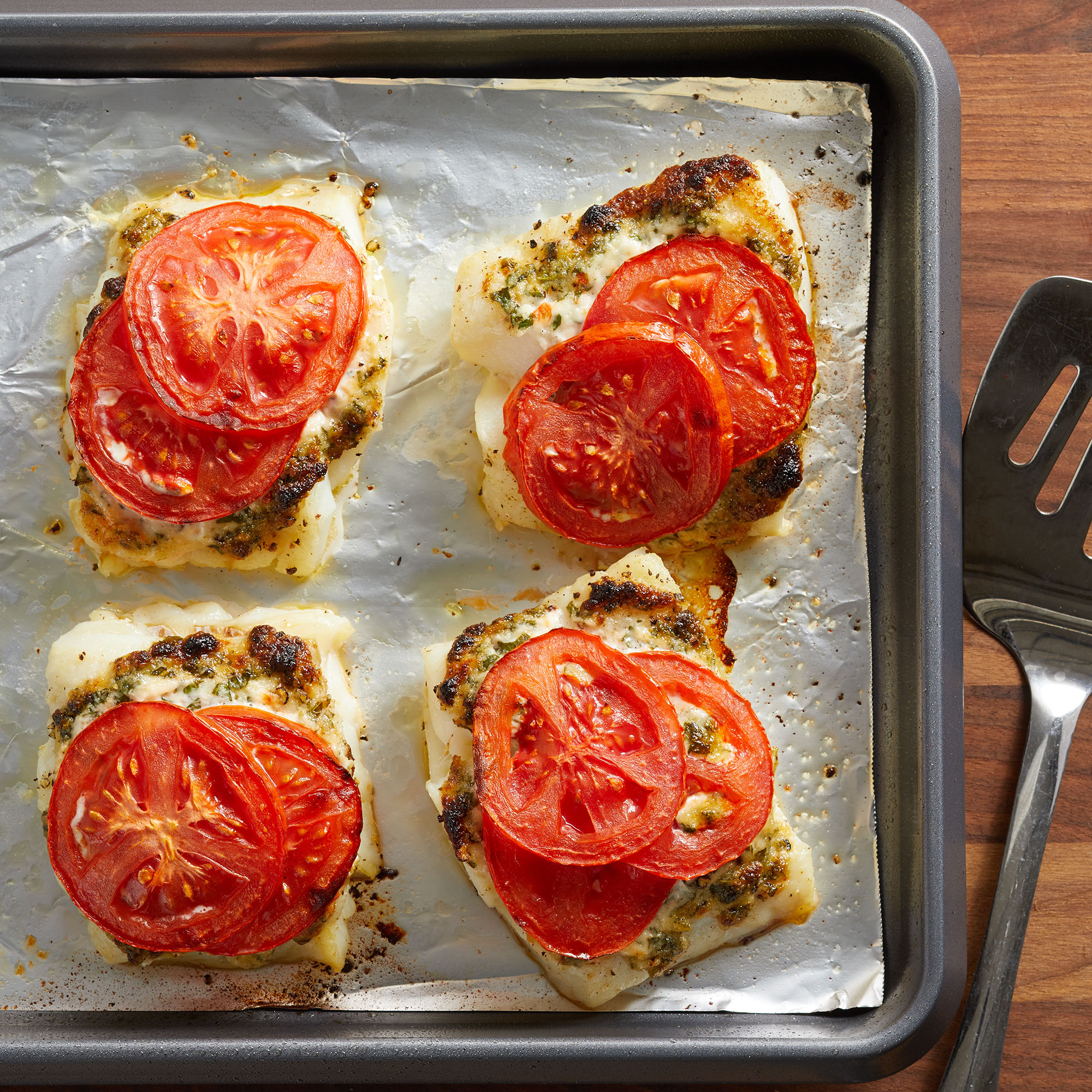 15-Minute Broiled Cod with Tomatoes & Herbed Mayonnaise