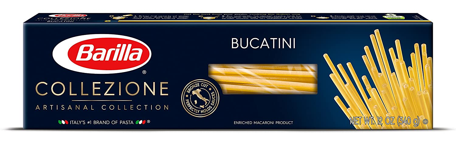 package of barilla bucatini in blue box
