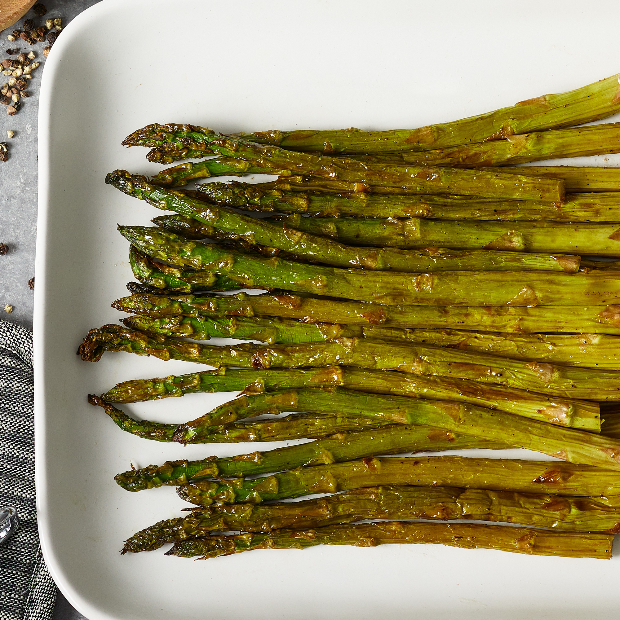 a platter of air-fried asparagus