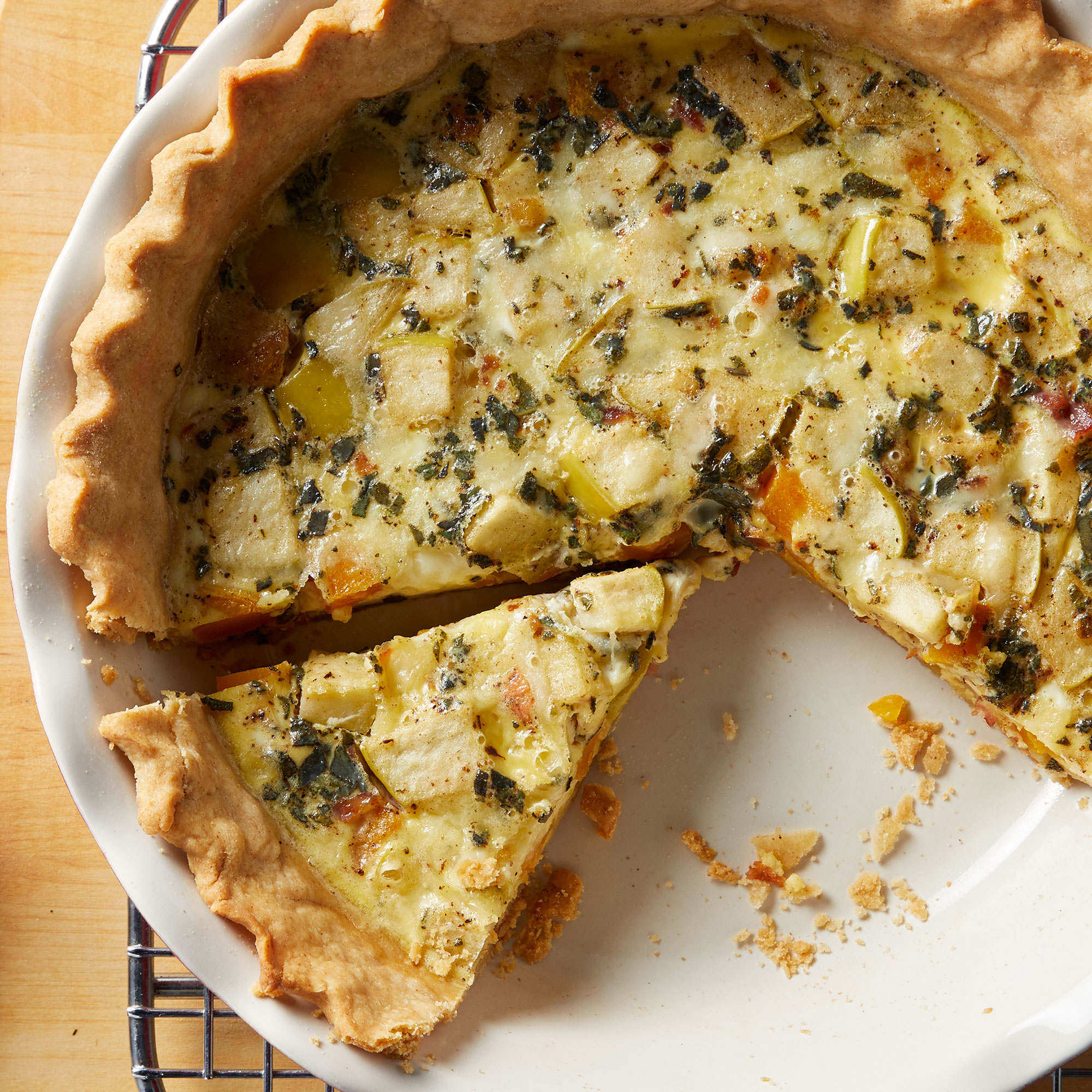 Apple, Bacon & Butternut Squash Quiche