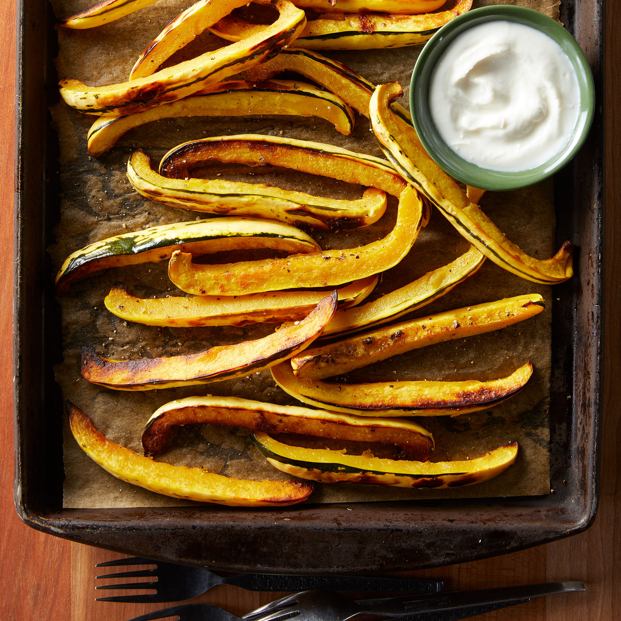 Delicata Squash Fries with Whipped Honey-Goat Cheese Dipping Sauce