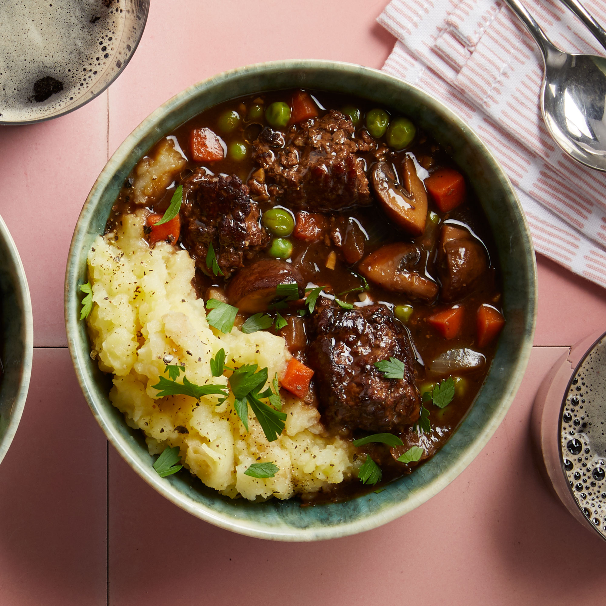 Beef & Mushroom Stew with Mashed Potatoes