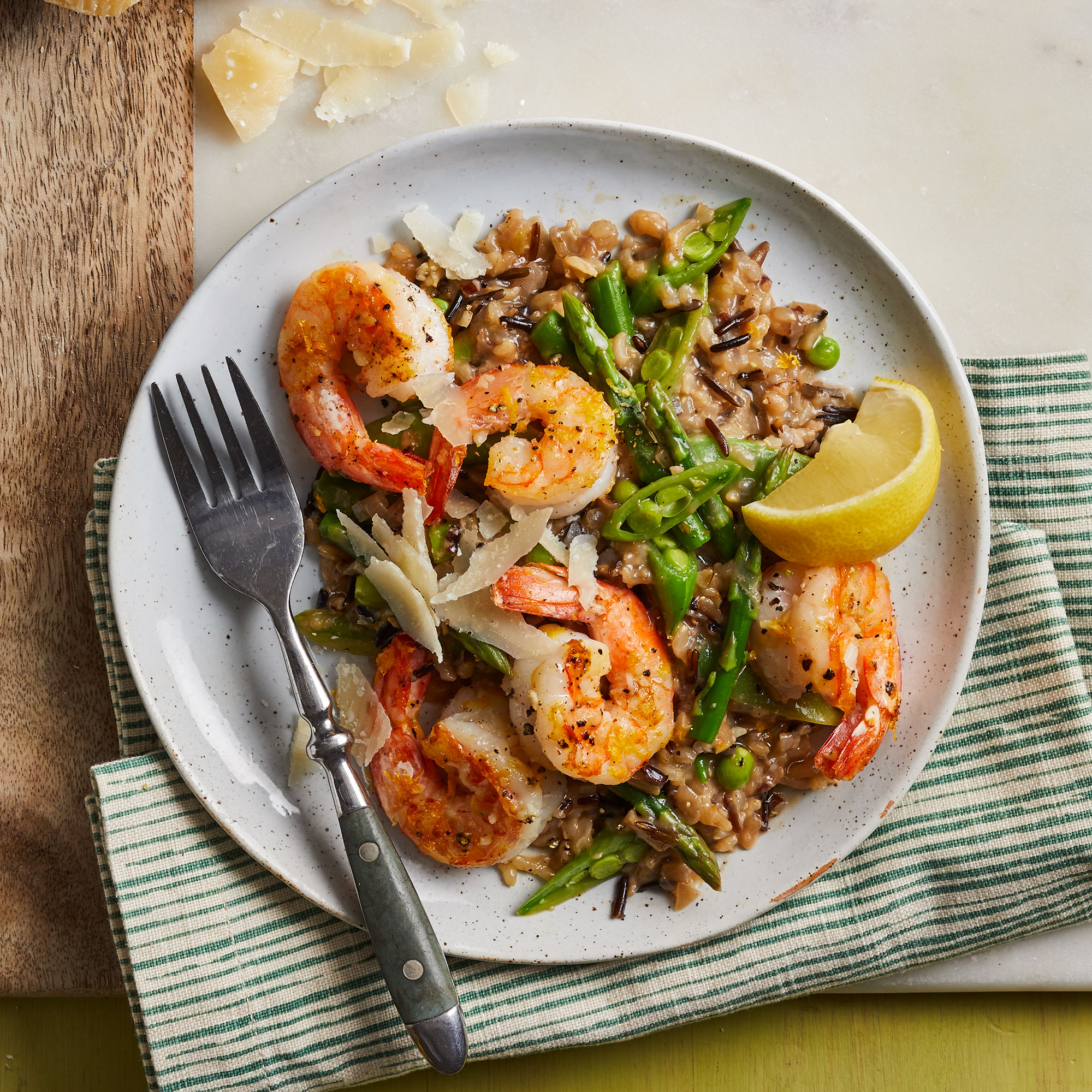 Wild Rice Risotto with Shrimp & Spring Vegetables