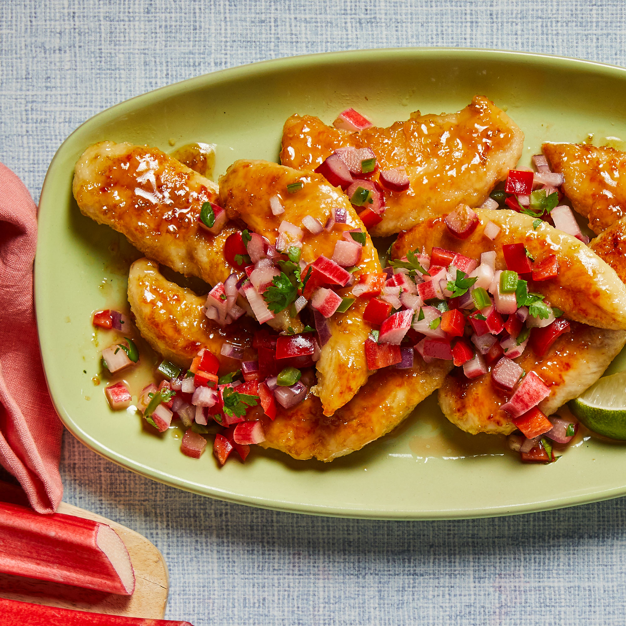 Honey-Lime Chicken Tenders with Rhubarb Salsa