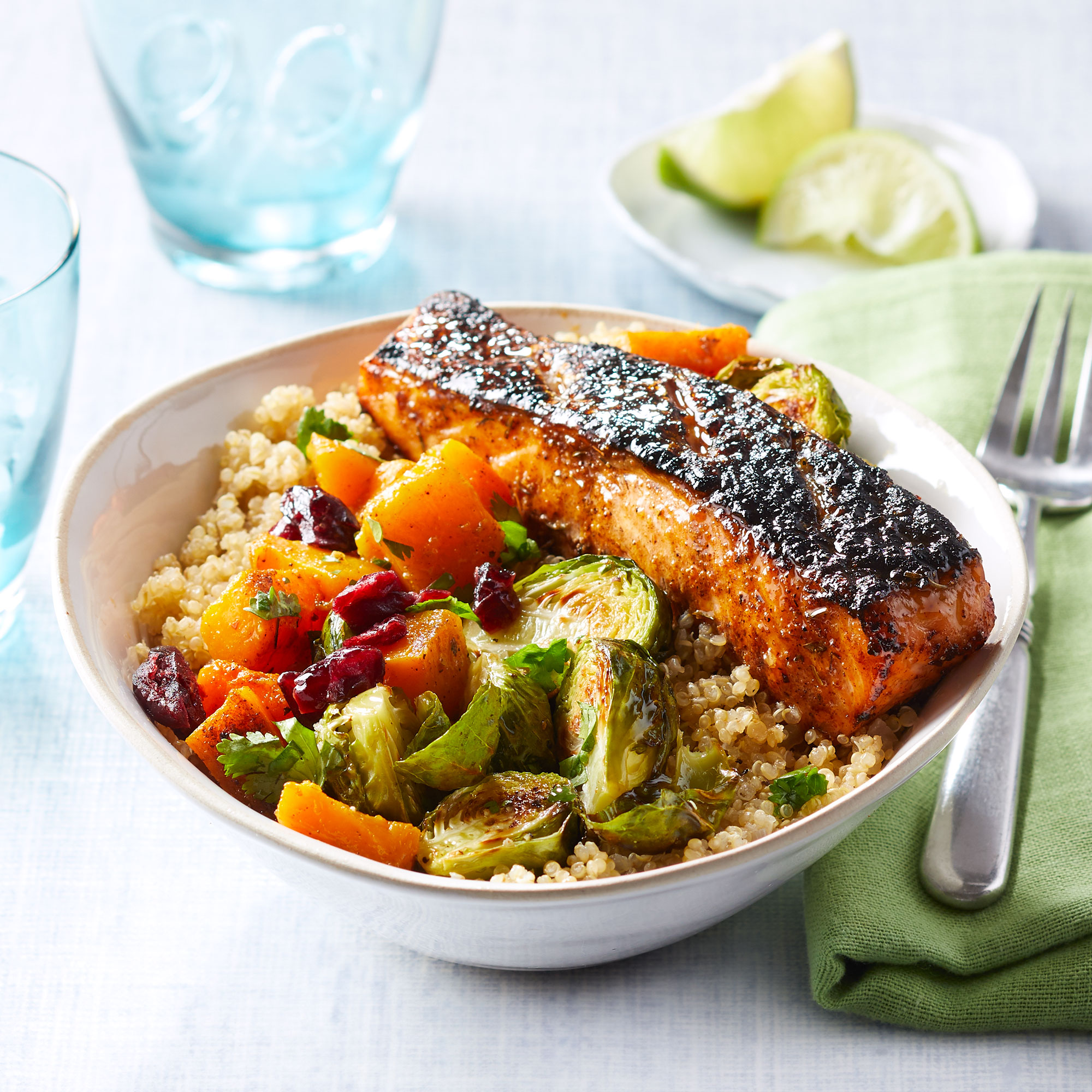 Jerk-Spiced Salmon & Quinoa Bowl with Mango Vinaigrette