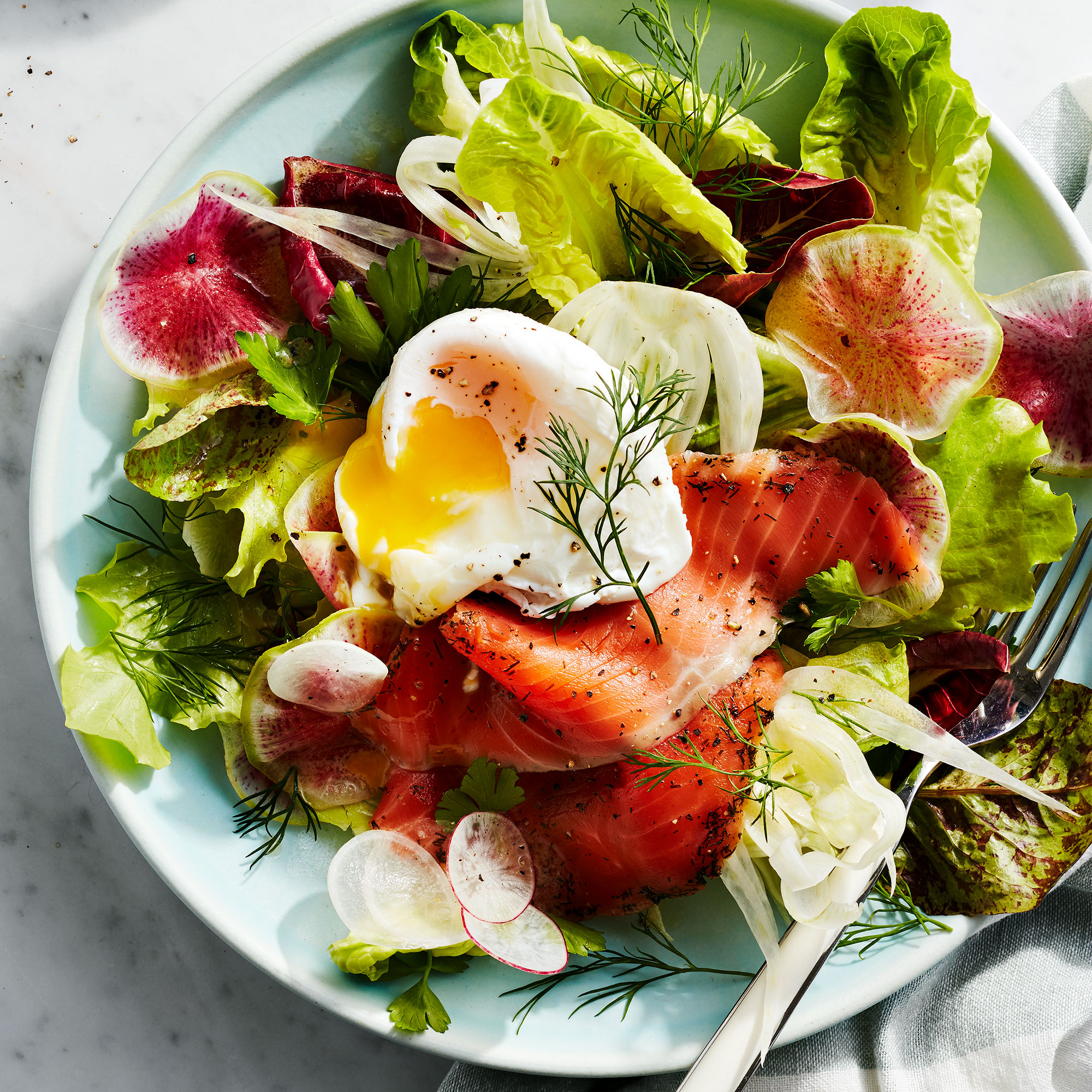 Breakfast Salad with Smoked Salmon & Poached Eggs