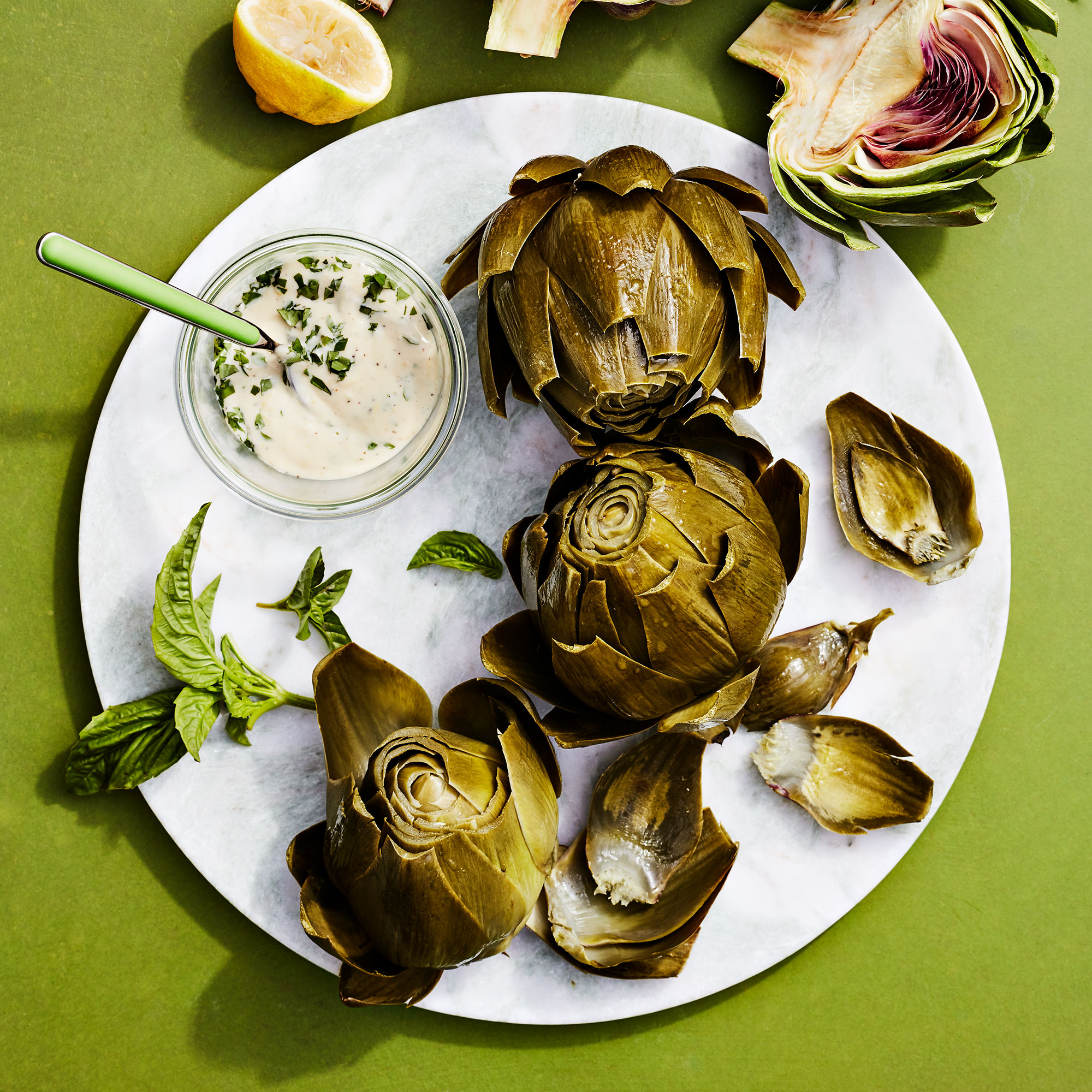 Steamed Artichokes with Lemon-Basil Aioli