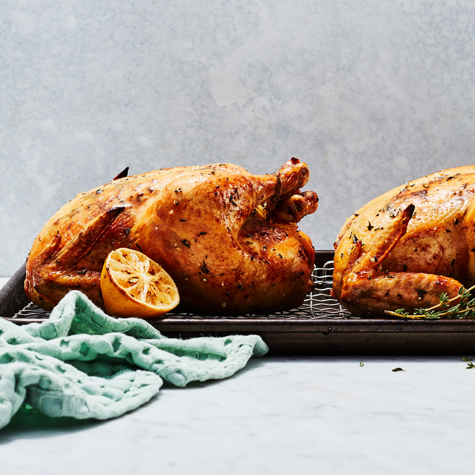 Garlic-Thyme Roasted Chickens