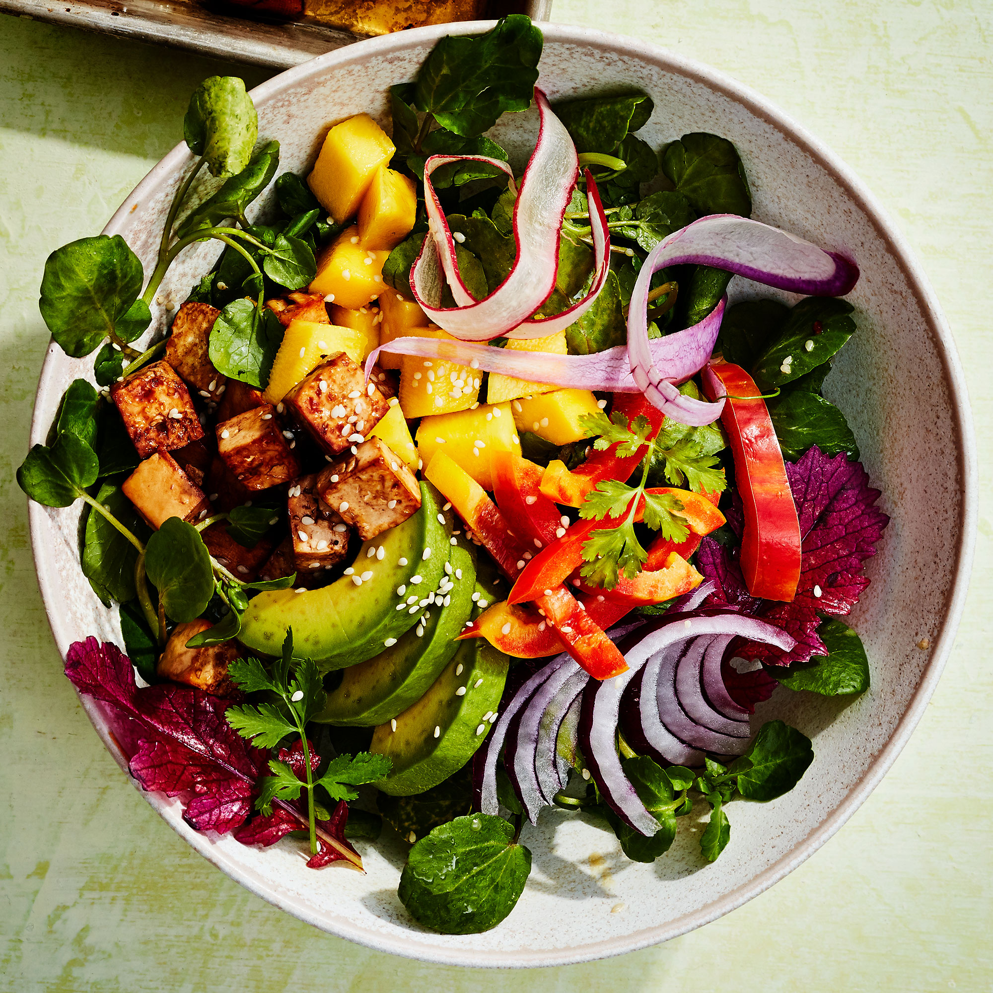 Tofu & Watercress Salad with Mango & Avocado