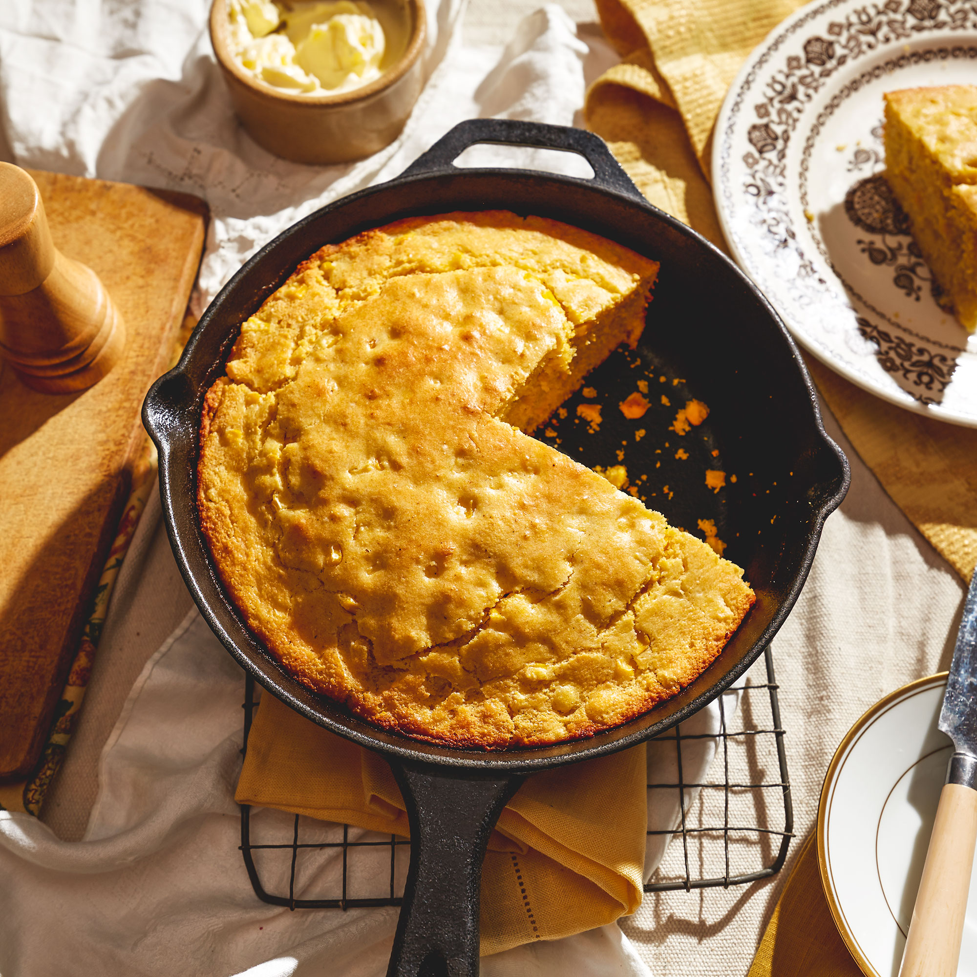 Cornbread in a cast-iron skillet