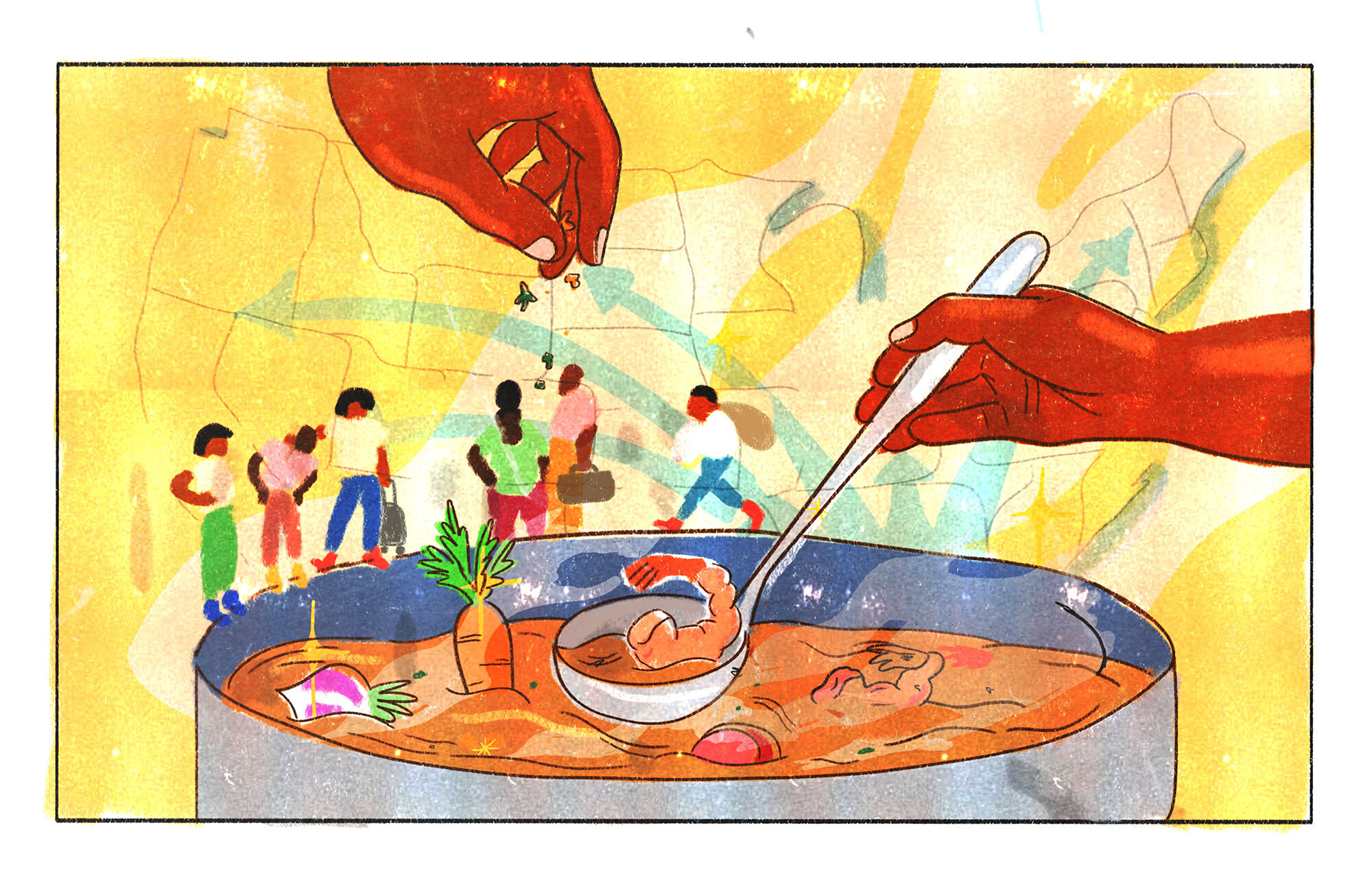 Migration Meals Illustration: Pot of soup with people around it