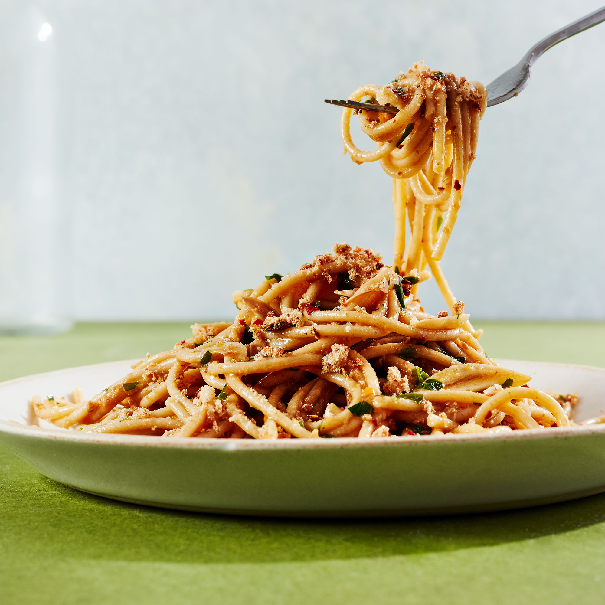 Spaghetti with Anchovies & Breadcrumbs