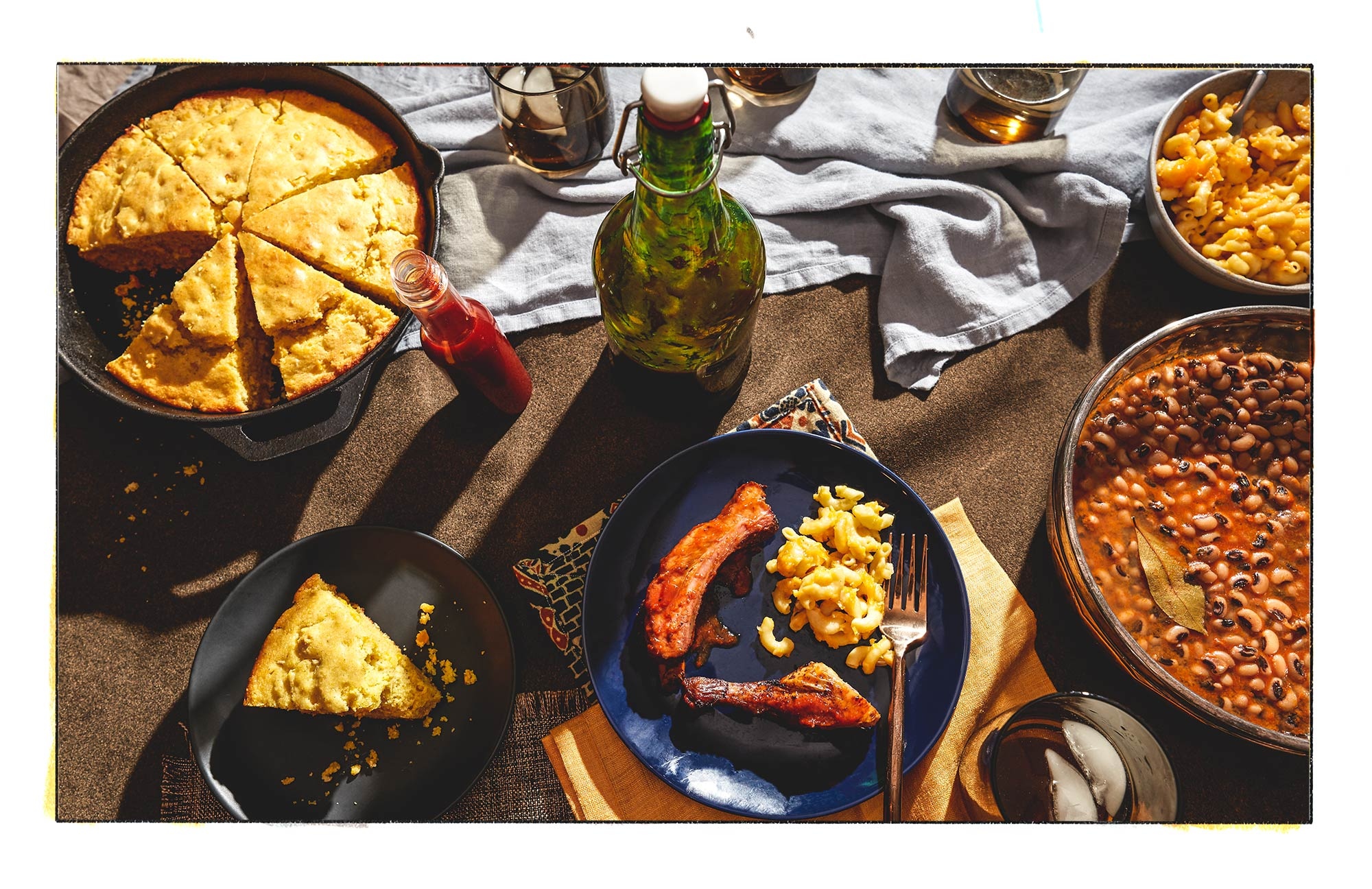 beautiful meal photo: ribs, black-eyed peas, macaroni and cheese and more