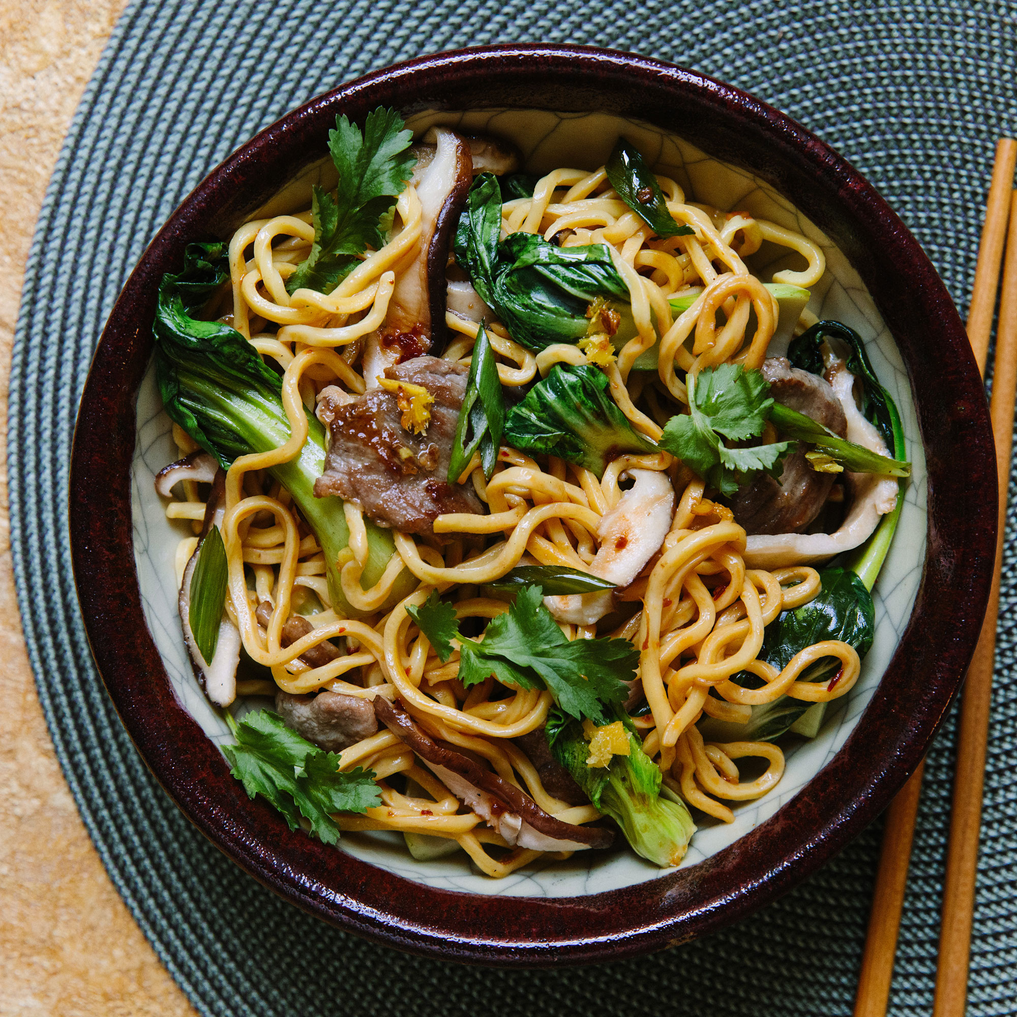 Spicy Pork Lo Mein Longevity Noodles