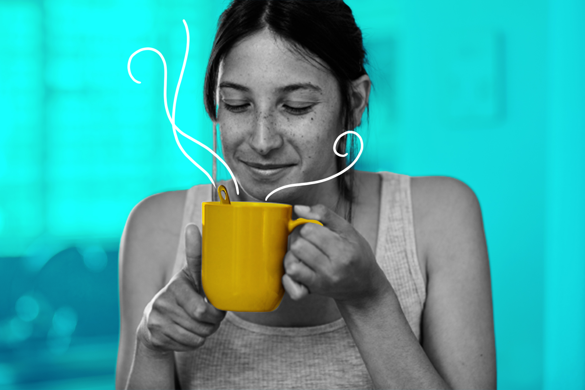 woman smelling cup of coffee on blue background
